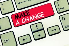 Word writing text Make A Change. Business concept for Create a Difference Alteration Have an Effect Metamorphose.  stock photo