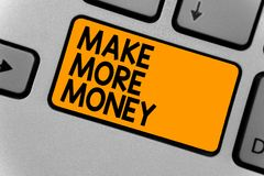 Word writing text Make More Money. Business concept for Increase your incomes salary benefits Work harder Ambition Keyboard orange. Key Intention create royalty free stock image