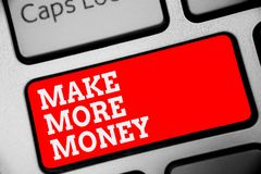 Word writing text Make More Money. Business concept for Increase your incomes salary benefits Work harder Ambition Keyboard red ke. Y Intention create computer royalty free stock images