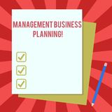 Word writing text Management Business Planning. Business concept for Focusing on steps to make business succeed Stack of. Blank Different Pastel Color royalty free illustration