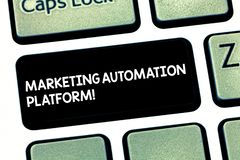 Word writing text Marketing Automation Platform. Business concept for automate repetitive task related to marketing. Keyboard key Intention to create computer royalty free stock photography