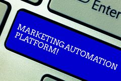 Word writing text Marketing Automation Platform. Business concept for automate repetitive task related to marketing. Keyboard key Intention to create computer royalty free stock images