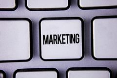 Word writing text Marketing. Business concept for Advertising Selling products from a company To promote something written on Whit. Word writing text Marketing Stock Images