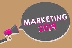 Word writing text Marketing 2019. Business concept for Commercial trends for 2019 New Year promotional event Man holding megaphone. Loudspeaker speech bubble royalty free illustration
