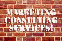 Word writing text Marketing Consulting Services. Business concept for create and implement marketing strategies. Word writing text Marketing Consulting Services royalty free stock photo