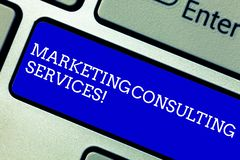 Word writing text Marketing Consulting Services. Business concept for create and implement marketing strategies Keyboard. Key Intention to create computer royalty free stock photos