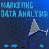 Word writing text Marketing Data Analysis. Business concept for Collecting data, scrutinized and make a conclusion Cocktail Wine. Glass Pouring Liquid with royalty free illustration