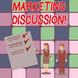 Word writing text Marketing Discussion. Business concept for deliberation by company to promote the buying Man and Woman. Word writing text Marketing Discussion vector illustration