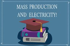 Word writing text Mass Production And Electricity. Business concept for Industrial electrical power supply Color stock illustration