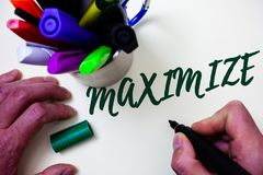 Word writing text Maximize. Business concept for Increase to the greatest possible amount or degree Make larger Artist study libra. Ry colourful pen bunch royalty free stock image