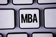 Word writing text Mba. Business concept for Master of Business Administration Advance Degree After College Studies written on Whit royalty free stock photo