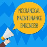 Word writing text Mechanical Maintenance Engineer. Business concept for Responsible for machines efficiency Hu analysis. Hand Holding Megaphone Blank Round royalty free illustration