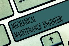 Word writing text Mechanical Maintenance Engineer. Business concept for Responsible for machines efficiency Keyboard key stock photo