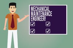 Word writing text Mechanical Maintenance Engineer. Business concept for Responsible for machines efficiency Man with Tie. Standing Talking Presenting Blank stock illustration