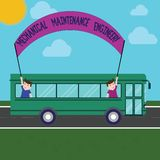 Word writing text Mechanical Maintenance Engineer. Business concept for Responsible for machines efficiency Two Kids. Inside School Bus Holding Out Banner with vector illustration