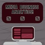Word writing text Media Business Analytics. Business concept for Collecting and evaluating data from social media Mounted Computer. Screen with Line Graph on stock image