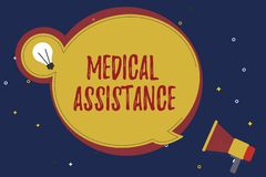 Word writing text Medical Assistance. Business concept for provides health care coverage for showing with low income.  royalty free stock image