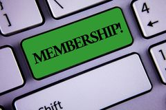 Word writing text Membership. Business concept for Being member Part of a group or team Join organization company written on Green. Word writing text Membership Royalty Free Stock Photo