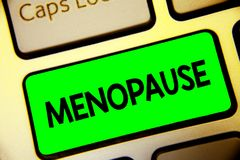 Word writing text Menopause. Business concept for Period of permanent cessation or end of menstruation cycle Keyboard green key In. Tention create computer stock images