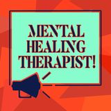 Word writing text Mental Healing Therapist. Business concept for Counseling or treating clients with mental disorder Megaphone. Sound icon Outlines Blank Square stock illustration