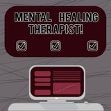 Word writing text Mental Healing Therapist. Business concept for Counseling or treating clients with mental disorder Mounted. Computer Screen with Line Graph on royalty free illustration