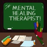 Word writing text Mental Healing Therapist. Business concept for Counseling or treating clients with mental disorder Mounted Blank. Color Blackboard with Chalk royalty free illustration