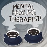 Word writing text Mental Healing Therapist. Business concept for Counseling or treating clients with mental disorder. Sets of Cup Saucer for His and Hers Coffee vector illustration