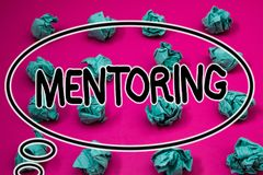 Word writing text Mentoring. Business concept for To give advice or support to a younger less experienced person Crumpled paper ba. Lls pattern eliptical design stock images