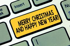 Word writing text Merry Christmas And Happy New Year. Business concept for Holiday season greetings celebrations. Keyboard key Intention to create computer stock illustration
