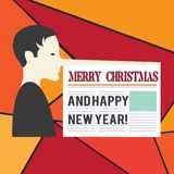 Word writing text Merry Christmas And Happy New Year. Business concept for Holiday season greetings celebrations Man. With a Very Long Nose like Pinocchio a stock illustration