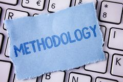Word writing text Methodology. Business concept for System of Methods used in a study or activity Steps to follow written on Tear. Word writing text Methodology stock images