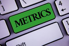 Word writing text Metrics. Business concept for Method of measuring something Study poetic meters Set of numbers written on Green. Word writing text Metrics Stock Images
