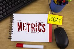 Word writing text Metrics. Business concept for Method of measuring something Study poetic meters Set of numbers written on Noteoa. Word writing text Metrics Stock Photo