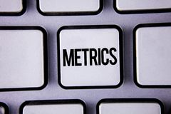 Word writing text Metrics. Business concept for Method of measuring something Study poetic meters Set of numbers written on White. Word writing text Metrics Royalty Free Stock Photography