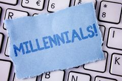 Word writing text Millennials Motivational Call. Business concept for Generation Y Born from 1980s to 2000s written on Tear Sticky. Word writing text Millennials stock photos