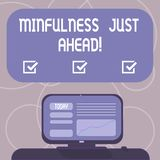 Word writing text Mindfulness Just Ahead. Business concept for training your mind to concentrate on the present Mounted. Computer Screen with Line Graph on Desk vector illustration