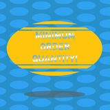 Word writing text Minimum Order Quantity. Business concept for lowest quantity of a product a supplier can sell Blank. Color Oval Shape with Horizontal Stripe vector illustration