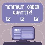 Word writing text Minimum Order Quantity. Business concept for lowest quantity of a product a supplier can sell Mounted. Computer Screen with Line Graph on Desk royalty free illustration