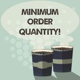 Word writing text Minimum Order Quantity. Business concept for lowest quantity of a product a supplier can sell Two To. Go Cup with Beverage and Steam icon royalty free illustration