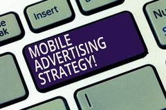 Word writing text Mobile Advertising Strategy. Business concept for marketing business to plea to mobile device user stock photos