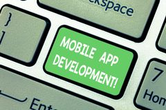 Word writing text Mobile App Development. Business concept for procedures involved in writing software for gadgets. Keyboard key Intention to create computer stock images