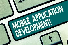 Word writing text Mobile Application Development. Business concept for Writing software for digital devices Keyboard key. Intention to create computer message stock photography