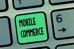 Word writing text Mobile Commerce. Business concept for Using mobile phone to conduct commercial transactions online.  stock images