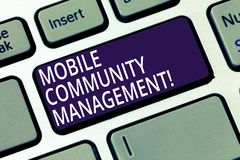Word writing text Mobile Community Management. Business concept for building relationships with online community. Keyboard key Intention to create computer royalty free stock image