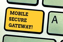Word writing text Mobile Secure Gateway. Business concept for Securing devices from phishing or malicious attack