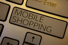 Word writing text Mobile Shopping. Business concept for Buying Products Online Technological Purchase Wireless Sales Keyboard brow Royalty Free Stock Photography