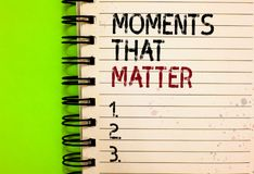 Word writing text Moments That Matter. Business concept for Meaningful positive happy memorable important times Written black and. Red text and number on white stock photo