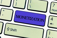 Word writing text Monetization. Business concept for Process of converting establishing something into legal tender.  stock images