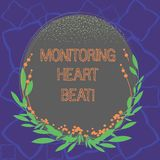 Word writing text Monitoring Heart Beat. Business concept for Measure or record the heart rate in real time Blank Color Oval Shape. With Leaves and Buds as vector illustration