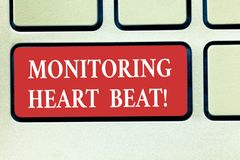 Word writing text Monitoring Heart Beat. Business concept for Measure or record the heart rate in real time Keyboard key. Intention to create computer message stock photos